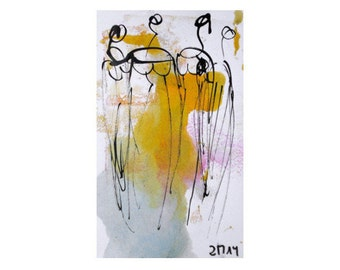 pastel ladies  - Original Drawing with colored Ink and Bambu-Stick - free shiping  11,81 x 8,27 inch