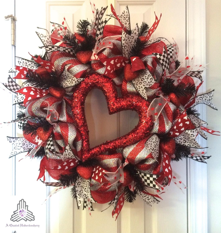 Valentine\u002639;s Day Silver\/Red Deco Mesh Wreath
