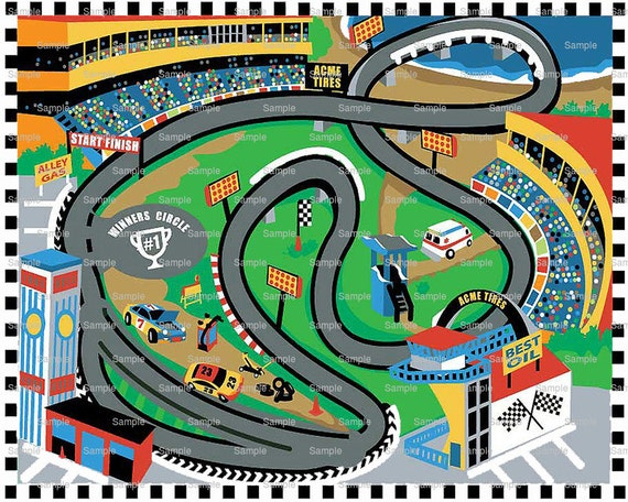 Car Race Track Birthday Topper - Edible Cake and Cupcake Topper For Birthday's and Parties! - D6026