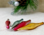 Vintage Teardrop mini ornaments, set of 4  //  Vintage multi colour glass Ornaments