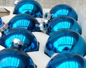 Vintage set of Blue glass Christmas ornaments - set of 10