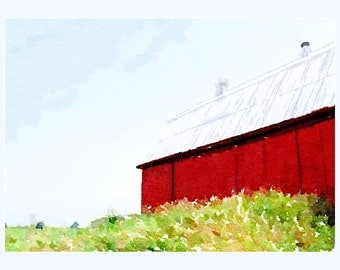 Digital photography,#wc306,watercolor,RED BARN,photographic print,country wall art,farm photography,wall art, art print, color print,summer