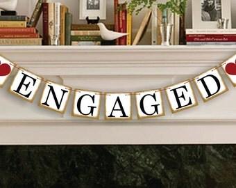 Engaged Sign - Rustic Wedding Banner Photo Prop - Wedding Sign - Wedding Decoration