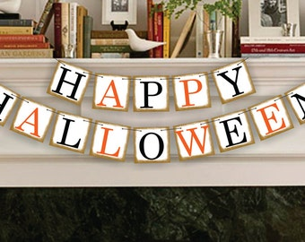 Happy Halloween Banner Halloween Decor Garland Halloween Party Halloween Decoration Orange and Black Fall Decor