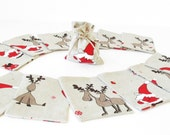 13 pc Christmas Linen Gift Bag Red Brown White Grey Santa Claus Reindeer Heart Cotton Rustic Cottage Snabby Chick Children Kid Snowflake