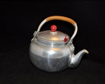 Vintage Aluminum Teapot - TEA FOR TWO