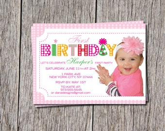 1st Little Girl Birthday Invitations
