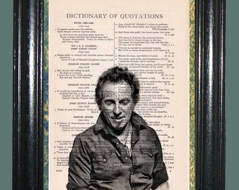 Bruce Springsteen The Boss Art - Vintage Dictionary Page Art Print Upcycled Book Page Art Collage Art Print