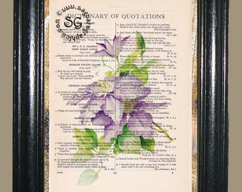 Lavender Flowers Art - Vintage Dictionary Page Book Art Print Upcycled Page Art Mixed Media Flower Print
