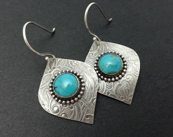 Silver Leaf Earrings, Sterling Silver Turquoise Earrings, Gemstone Earrings for Women, Turquoise Dangle Earrings, Turquoise Cabochon Bezel