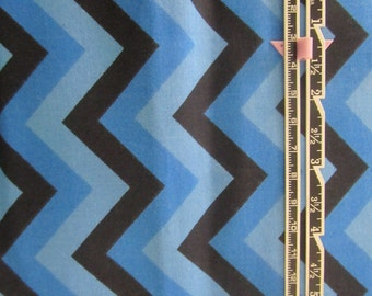 Blue and Black Chevron Fabric by the yard, 1 yard, 100% Cotton, Blue and Black Zig Zag Fabric, Royal Blue Chevron Fabric