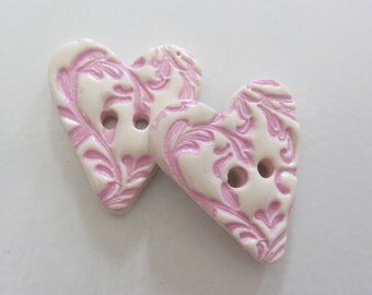 Charlotte Heart Buttons ~ Set of 2