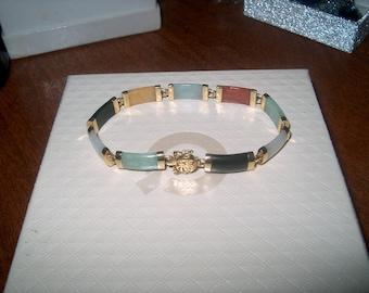 14K Yellow Gold Jade Bracelet, Vintage Fine Jewelry, Asian, Multi Colors, WAS 200.00 - 35% = 130.00