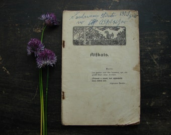 Antique poetry book issued in Riga in 1900s Old vintage book Vintage ephemera Latvian poetry book