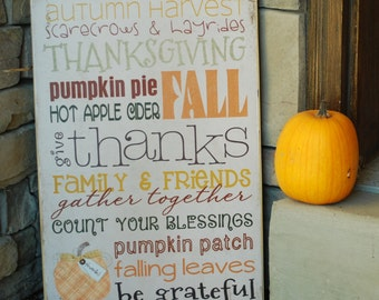 Thanksgiving Subway Art Wooden Sign 12x18; Thanksgiving Decoration, Fall Decoration, Give Thanks, Gather Together, Be Grateful
