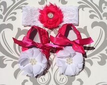 Pink Baby Shoes, Hot Pink Baby Shoes, Pink and White Baby Shoes, Rosette Baby Shoes, Crib Shoes, White Baby Shoes, PInk White Wedding Shoes