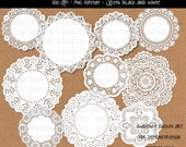 INSTANT DOWNLOAD-round paper doilies PNG files Digital Scrapbook (black and white)
