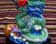 Handmade FENG SHUI Ceramic Dragon Hand Painted GREEN small gemstone cabochon in mouth, 10cm x 8cm and available in 9 Colours of the Bagua