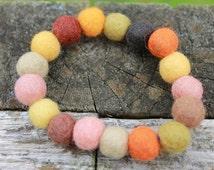 Handmade felt ball bracelet, bangle, autumn colours, nature, natural, various sizes