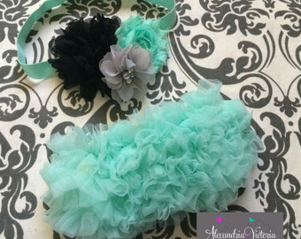 MINT BABY BLOOMER set, vintage inspired baby headband and chiffon ruffle diaper cover, mint, gray and black baby set, aqua blue.