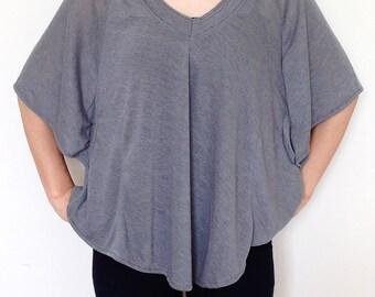 SC007: Dark Gray Women Blouse, Dolman T Shirt, Dolman Sleeve Top, Oversized Top, VNeck Tee, Ladies Tshirt, Casual Chic Wide Sleeve Women Top