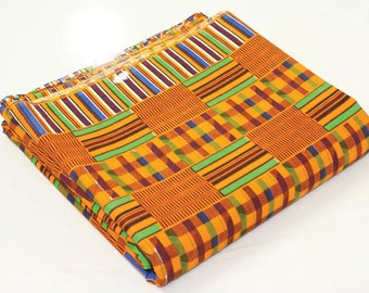 Taditional Kente print African fabric per yard / African textiles/ African prints/ kente cloth fabrics/ Kente Stoles/ Clothing/ Decor