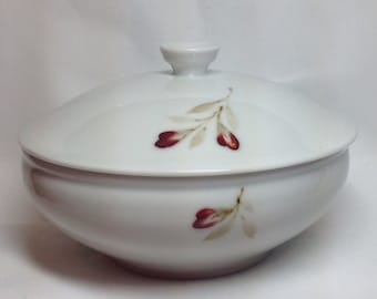 Vintage Hand Painted Flower Blossom Oriental Bowl with Lid, Sugar Bowl
