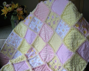 NOW ON SALE!  Baby girl pink and yellow rag quilt with minky and flannel