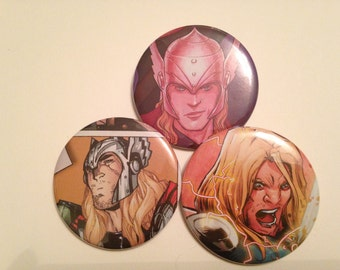 Thor Comic Book Button 3 pack