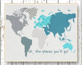 World map Poster Oh, the Places you'll Go! Dr Seuss World Map Wall Art Family Room playroom Kids wall art Blue and gray Boys room decor