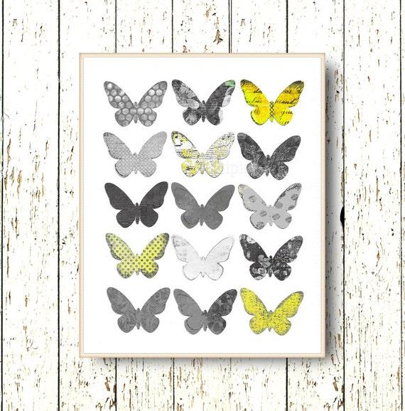 Print Butterfly Wall Art Decor Children Art Bedroom Art