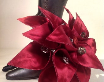Handmade Red Satin Calla Lily Bridesmaids Bouquet Accented with Crystals
