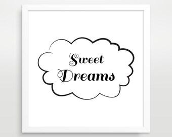 Black and White Typography Poster, Sweet Dreams, Bedroom Decor, Nursery Decor, Scandinavian Print, Typography Print, Minimalist Poster