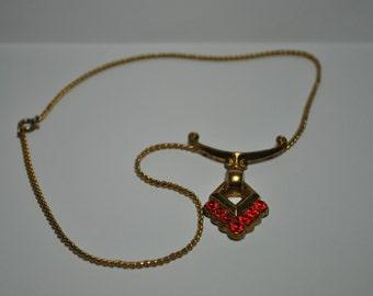 Signed Pegasus Coro Gold Toned Red Rhinestone Necklace