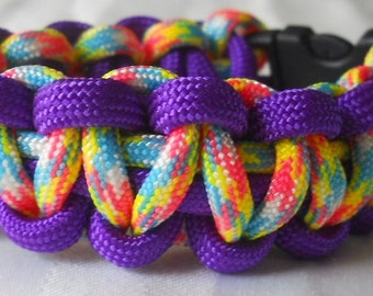 Purple and Rainbow 6 Inch Paracord Bracelet Item #149