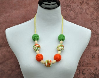 Teething Necklace - Orange, Yellow, White, and Green - Nursing Jewelry