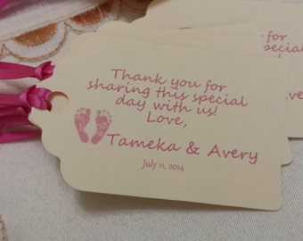 Personalized Favor Tags 2 1/2'', Baby Girl Shower  tags, Thank You tags, Favor tags, Gift tags, Rustic Tag, baby shower