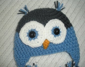 Crochet owl earflap hat, baby owl hat, blue and gray owl hat, baby gift, newborn 0-3 3-6 6-9 9-12 month, owl beanie, baby gift