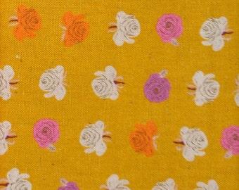 Heather Ross Far Far Away 2 - FQ Mustard Roses Fabric Destash