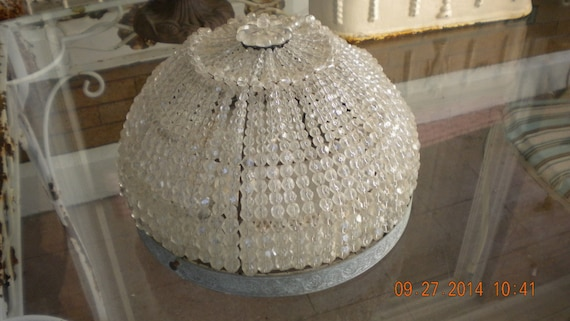Wood Beaded Light Fixture: French Antique Crystal Beaded Dome Flush Mount Light