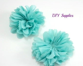 Aqua Green chiffon flower - 2.5 inch fabric flower - Ballerina ruffle flower - wholesale flowers - hair flower - appliqué flower