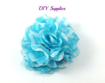3 inch turquoise white chevron mesh flower - tulle flowers - wholesale fabric flowers for headbands, hair clips, or hair bows