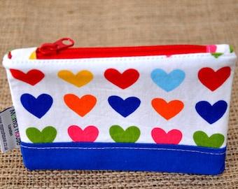 Hearts Zipper Pouch/ Coin Purse.