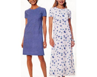 McCall's Sewing Pattern 9319 Misses' Dress in two lengths  Size:  A  6-8-10-12  Used