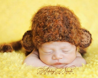 Monkey crochet hat photography prop for newborn