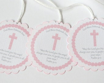 Custom Baptism favor tags , Girl first communion favor tags, Pink Christening Tags, Girl first Sacrament tags, Personalized Baptism tags
