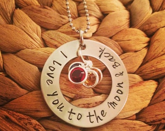 I Love You to the Moon & Back Hand Stamped Necklace - Personalized