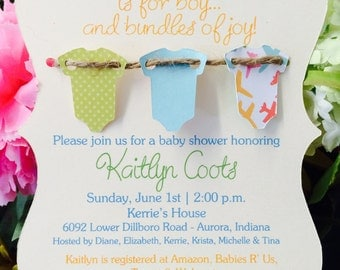 Baroque Die Cut Baby Shower Invitation with 3-D Onesies and Twine
