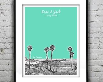 San Clemente Wedding Guest Book Poster Print -City Skyline California CA