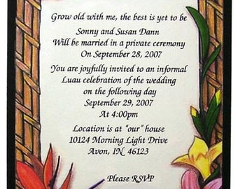 50 Hawaiian Theme Invitations or Weddings or any Occasion Customized for You